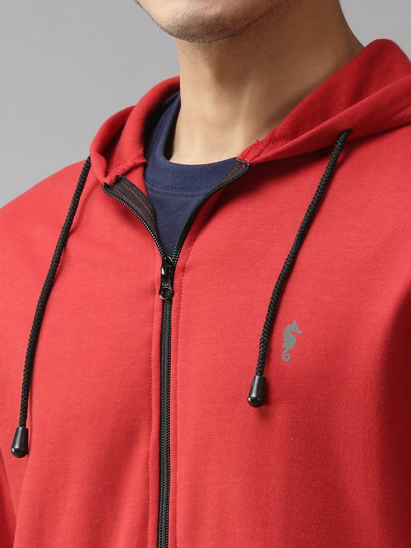 Stylish Polycotton Fleece Red Solid Hoodies Sweatshirt For Men