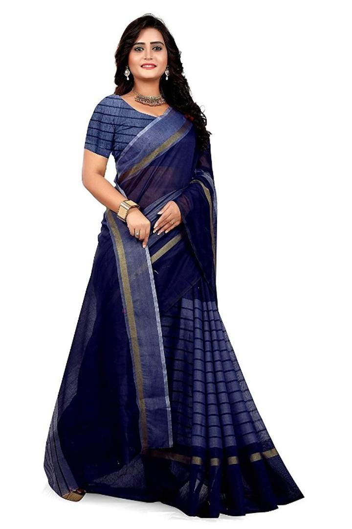 Women's Beautiful Chanderi Cotton Saree with Blouse piece