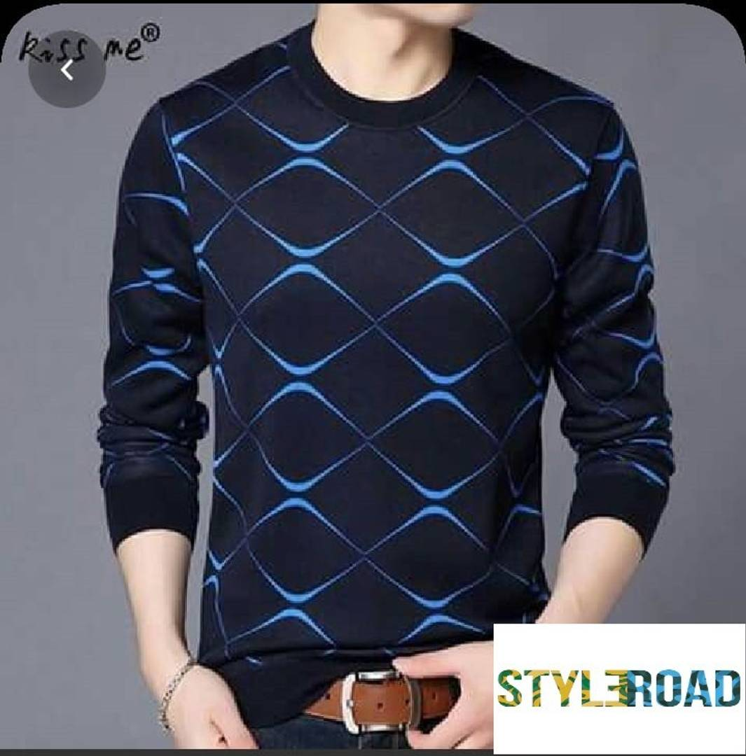 StyleRoad Men's Blue Cotton Printed Round Neck Tees