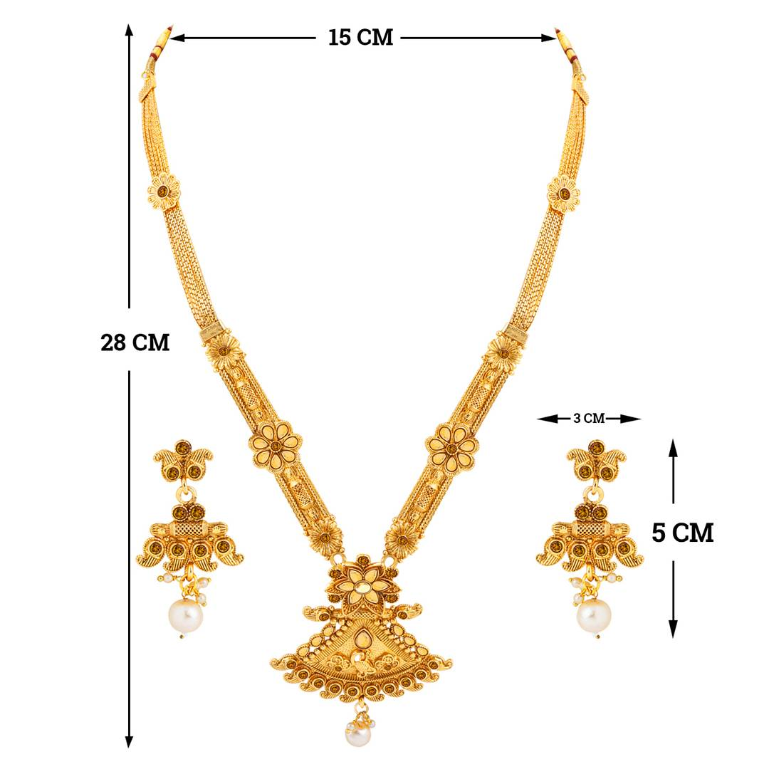 Gold Plated Traditional Designer Necklace Jewellery Set For Women