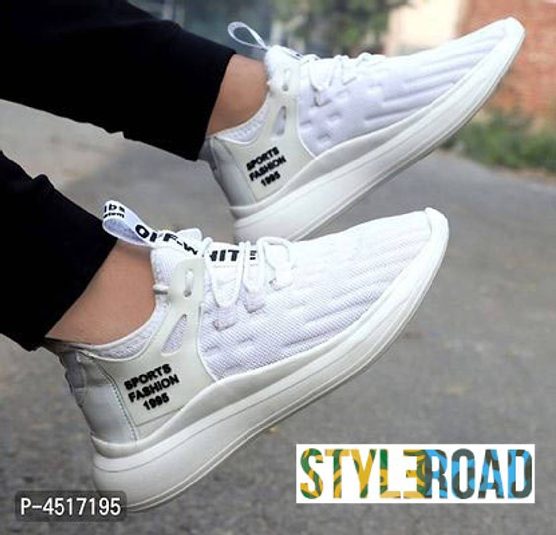 Men's Stylish White Mesh Sports Sneaker