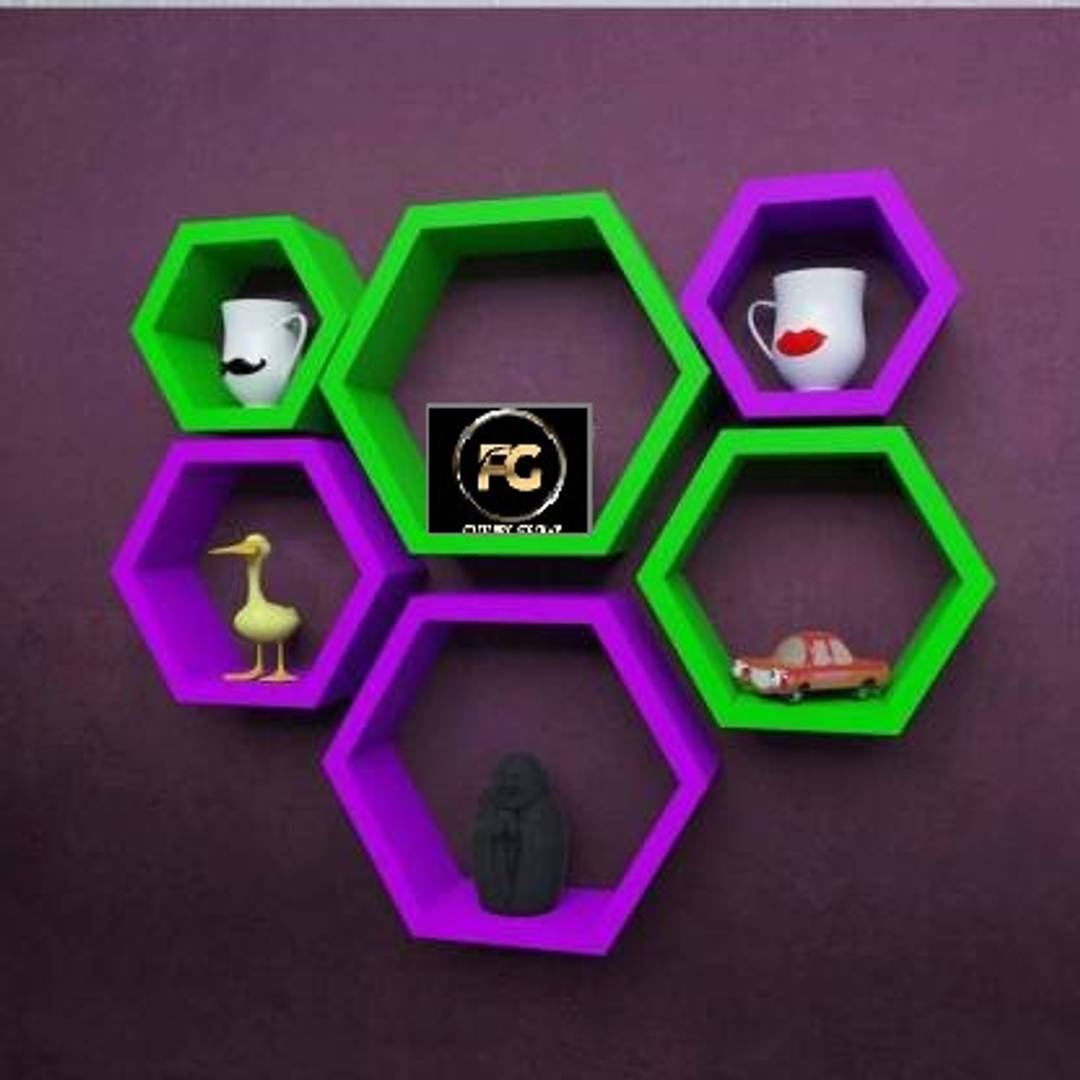 Wall Hanging Hexagonal Rack Shelf