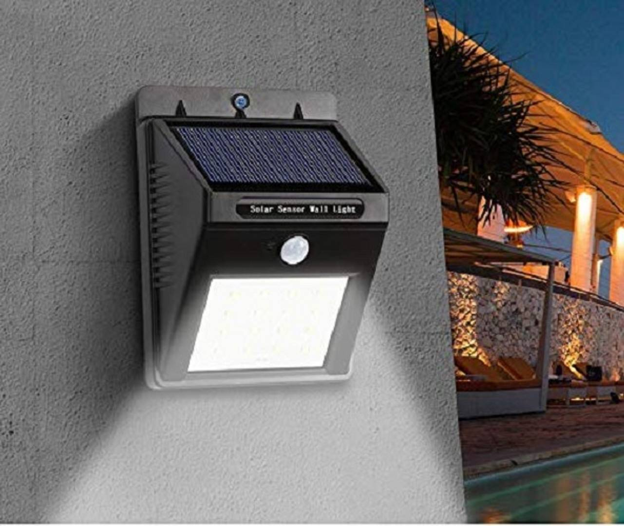 Solar LED Light with Motion Sensor Waterproof Solar Wireless Security Motion Sensor LED Night Light for Home Outdoor/Garden Wall (Black) (20-LED Lights) Solar Light Set  (Wall Mounted Pack of 1)