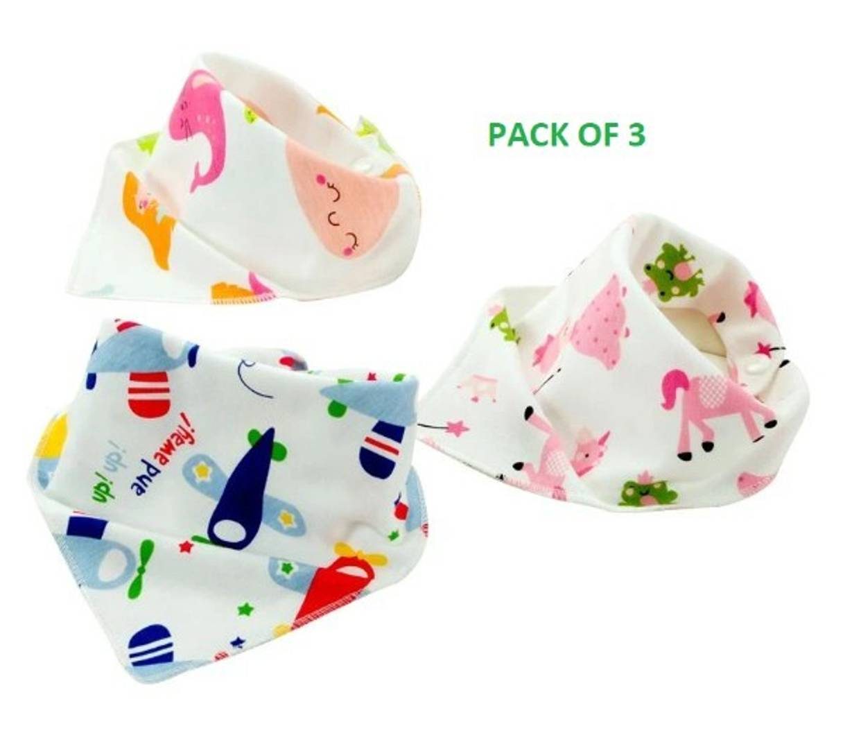 Orcoa Triangle Shaped Baby Bandana Bibs (Random Colours) Pack of 3