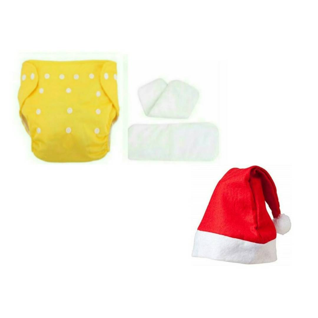 CHRISTMAS OFFER REUSABLE CLOTH DIAPER WITH 2 MICROFIBER INSERT AND 1 Santa Clause Cap FREE