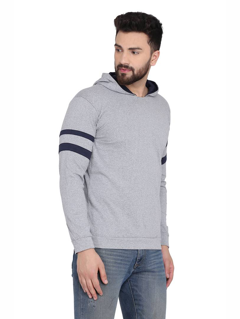 Men's Grey Cotton Blend Hoodie with stripes
