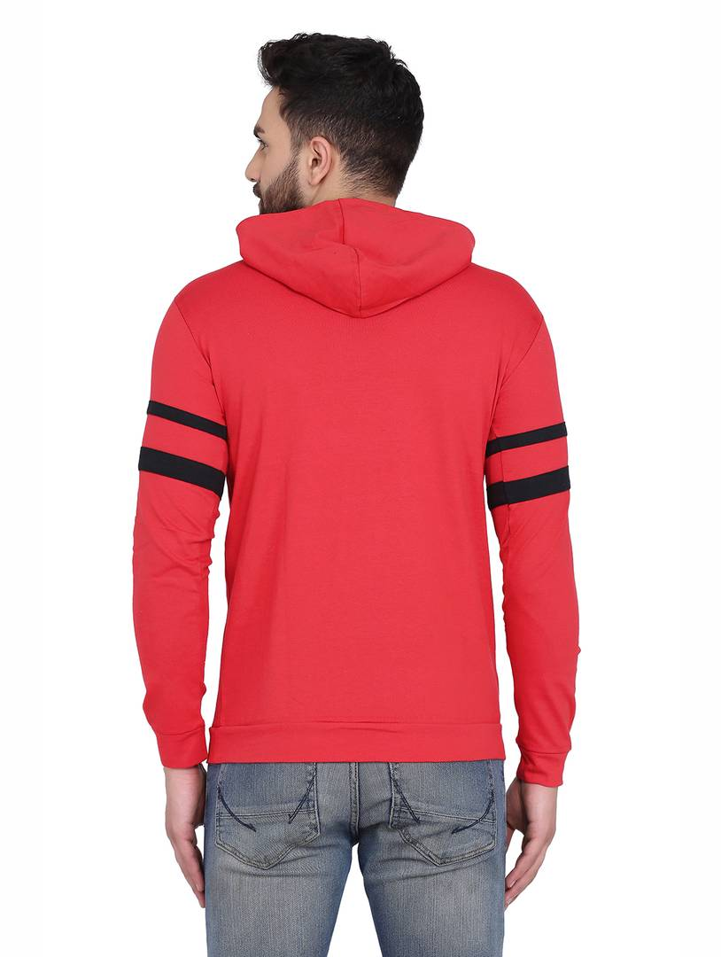 Men's Red Cotton Blend Hoodie with stripes