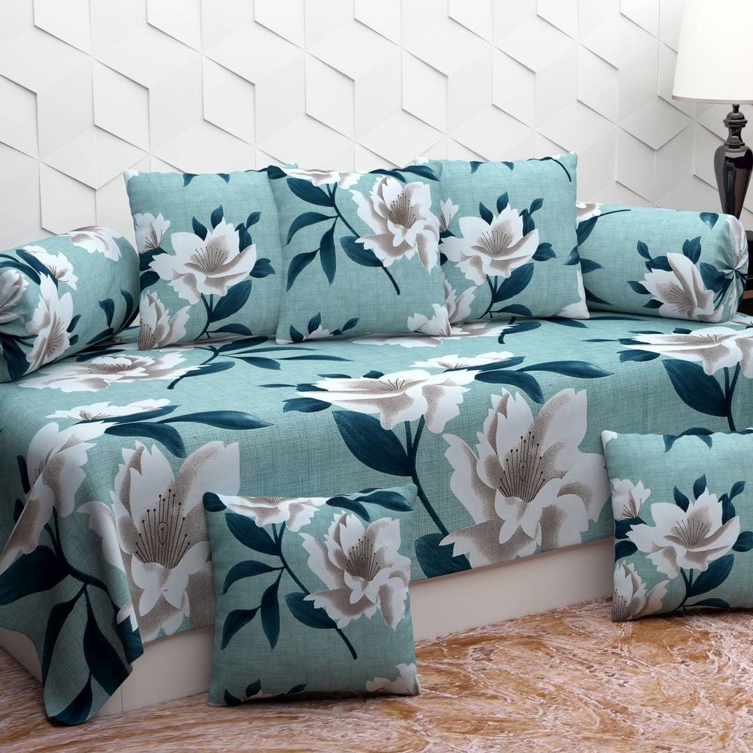 Diwan Set with 8 pieces , 1 Single bedsheet , 5 Cushion covers , 2 Bolster covers