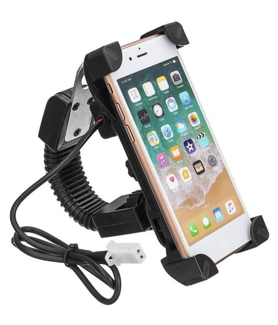 Universal Bike Mobile Holder Mirror with USB Charger Bike Mobile Holder