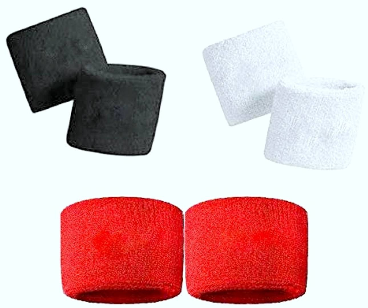 CASHWIN Sweatband Wrist Band/Wrist Support for Gym and Sports Activities (Red, Black, and White) 3-Pair