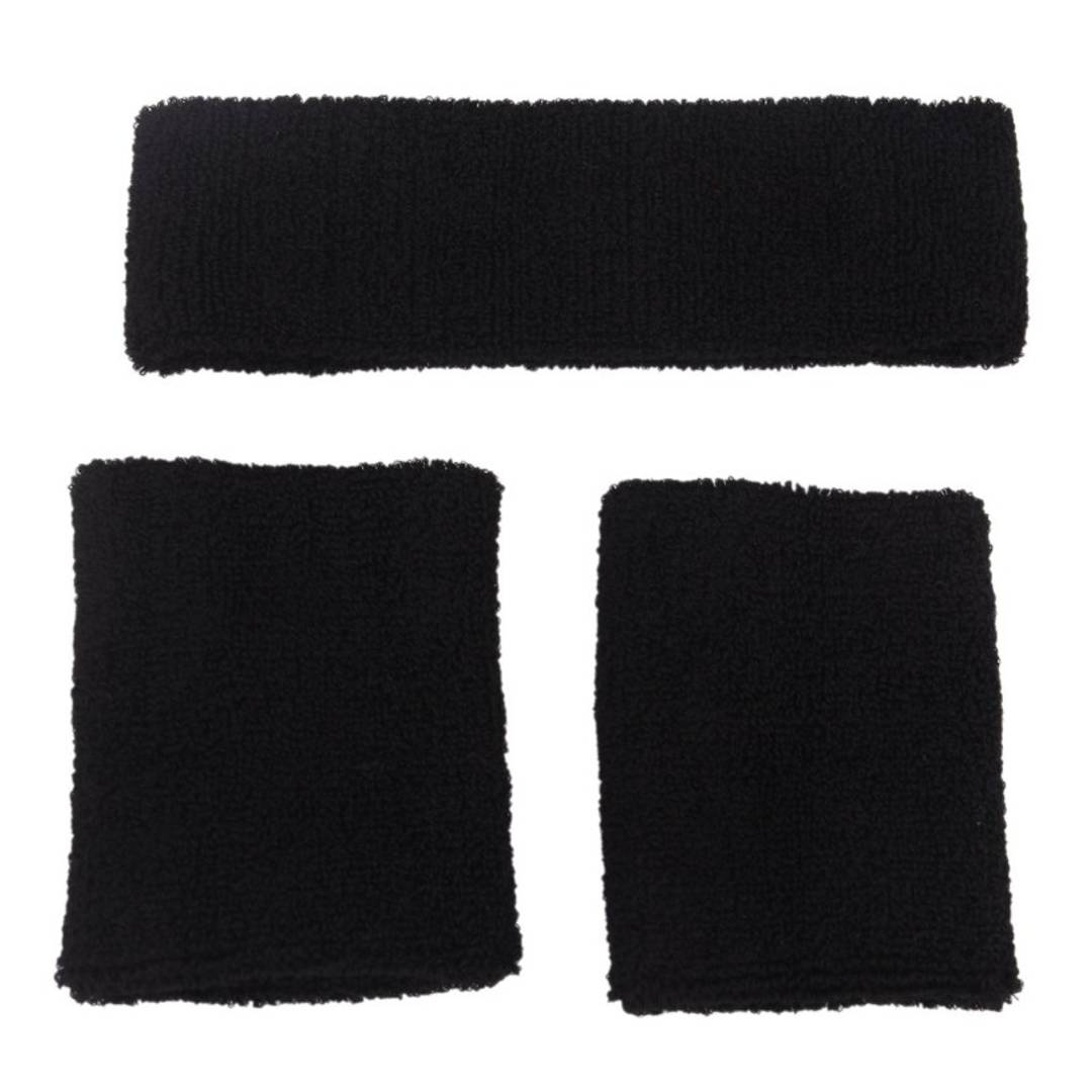 Generic Elastic Sweatband Set 1x Headband 2x Wristbands For Sports-Black