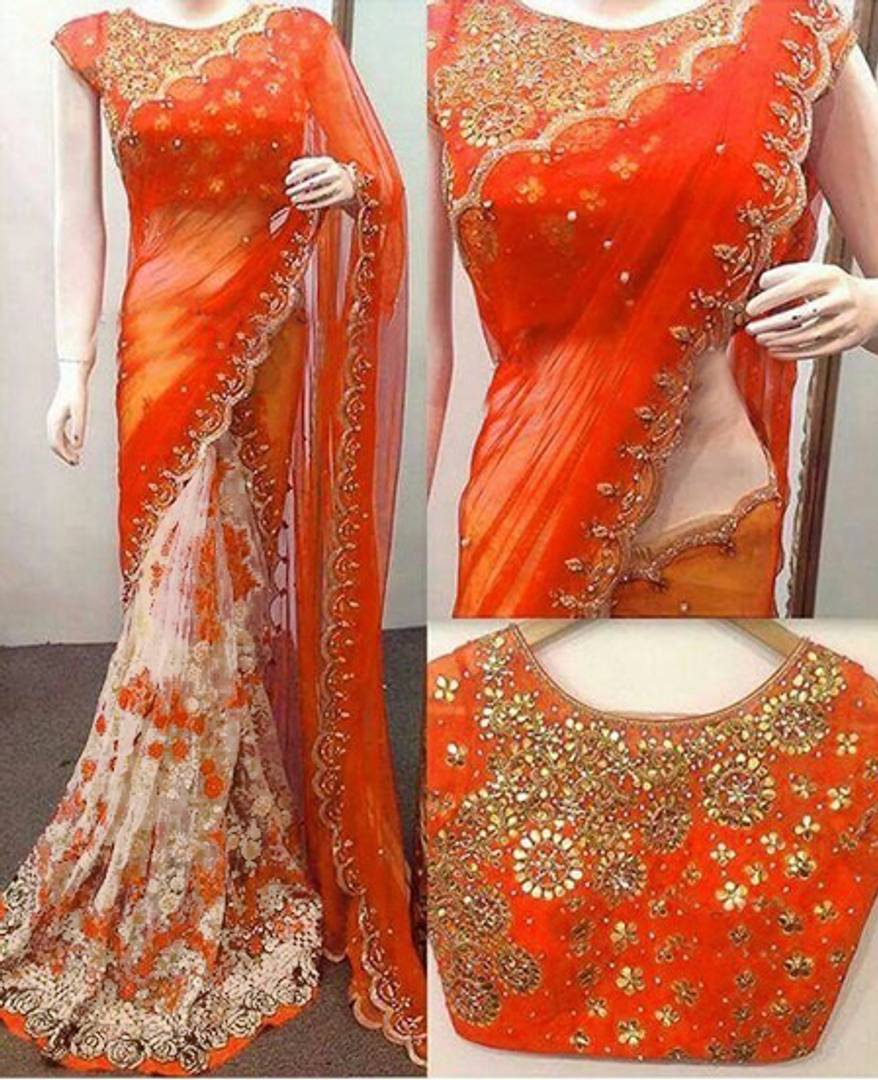New Trendy Net Embroidered Saree with Blouse piece