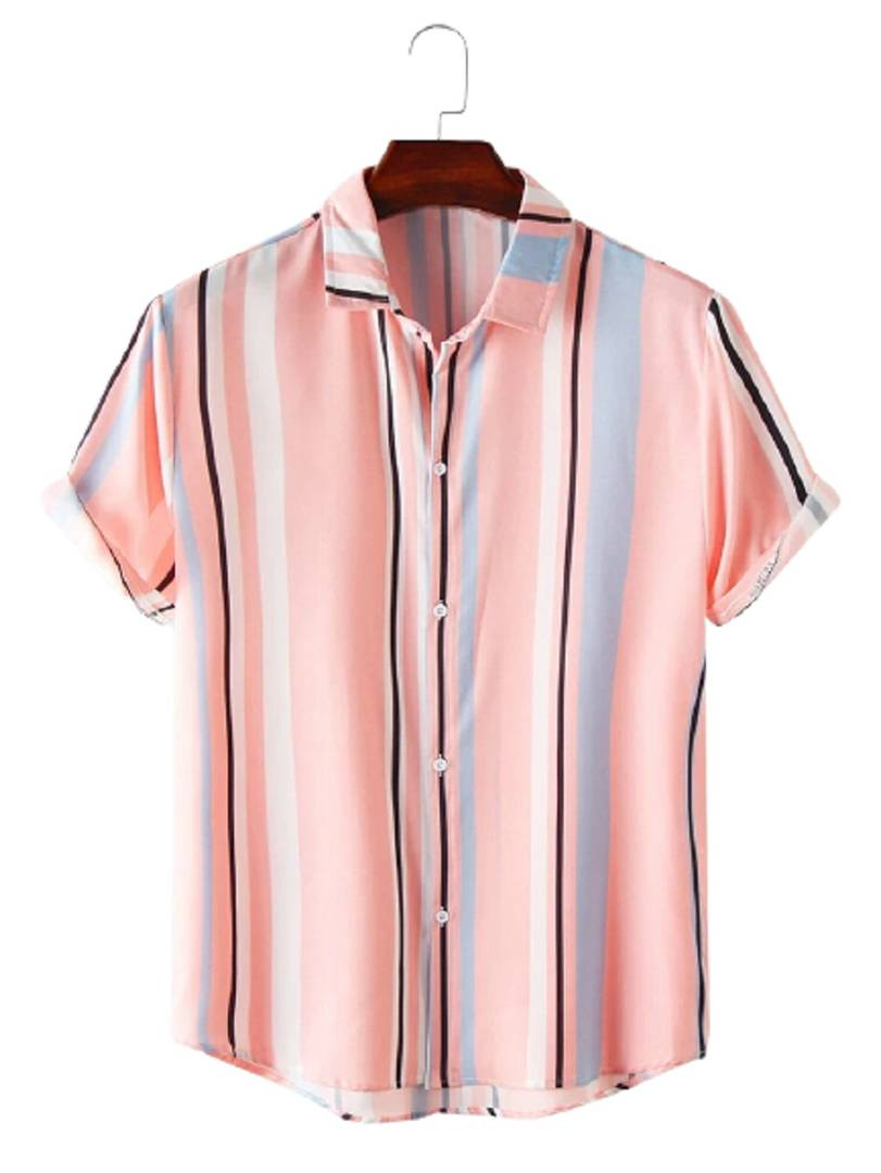 Stylish Cotton Multicoloured Striped Short Sleeves Casual Shirt For Men
