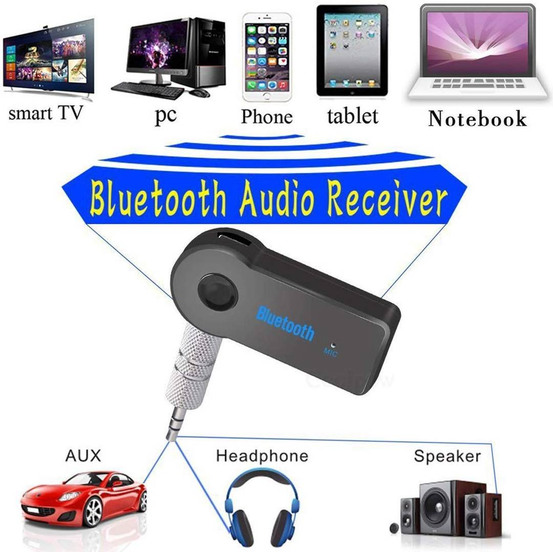 Car Bluetooth Device with Audio Reciever, 3.5mm Connector, Adapter Dongle, Transmitter (Black)