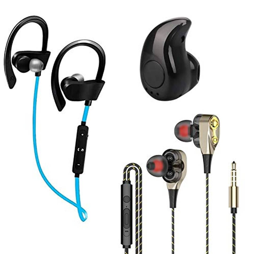 QC10 Wireless Neckband With Kaju In Ear Bluetooth Headset With Wired Good Sound Earphone - Pack Of 3