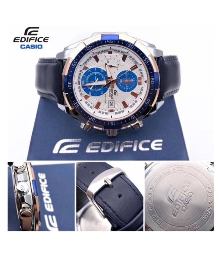 Men Fashion Chronograph Blue Leather Watch