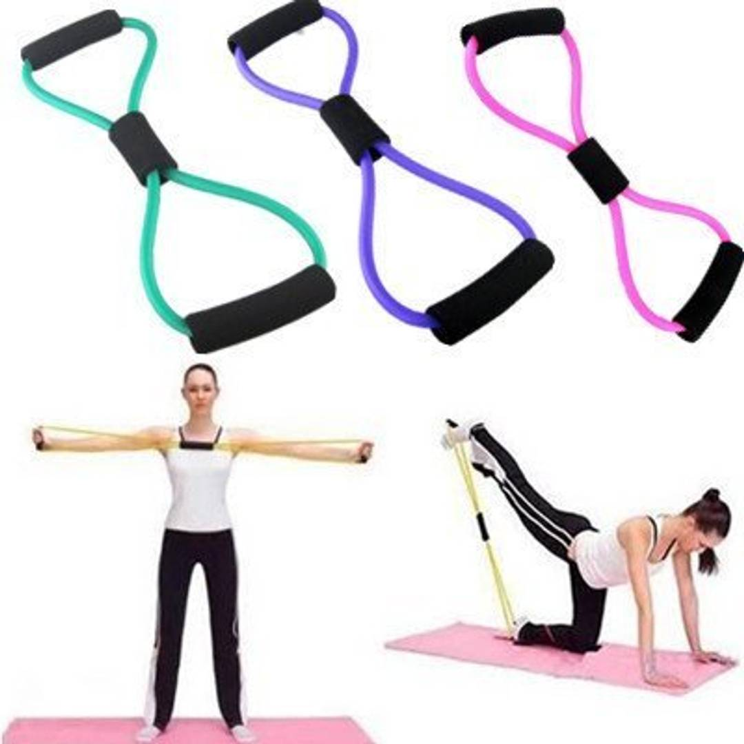 Total Body Fitness Stretch Body Toning And Stretching Travel Exercise Tube 8 Type Resistance Band Exercise Tube