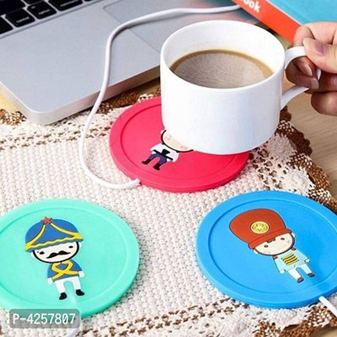USB Gadget Cartoon Printed Insulation Electric Warmer Silicone Mat (9.5x9.5x0.5cm, Blue)