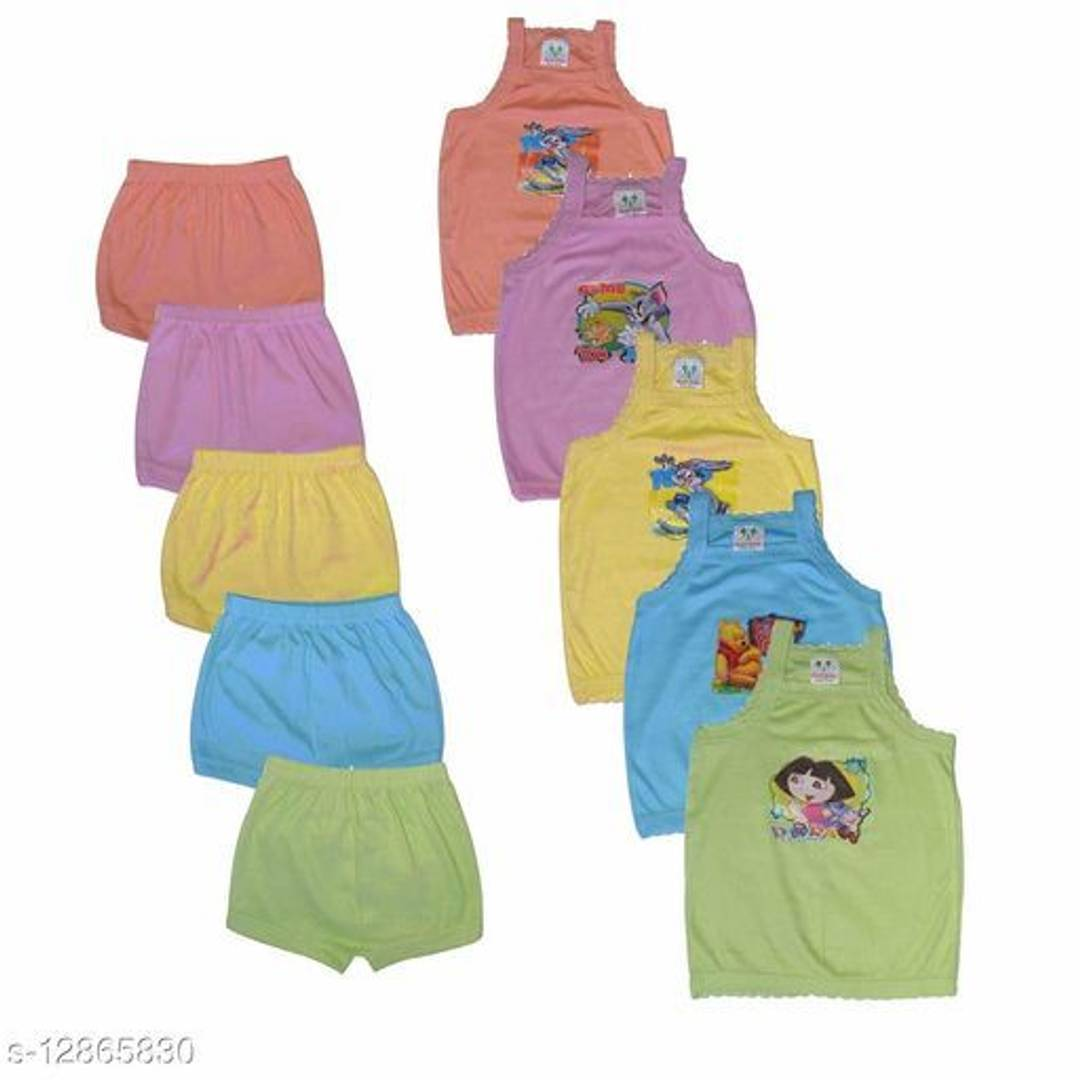 Cotton Printed Boy Babies and Girl Babies 5 Tops and 5 Matching Bottoms (Pack Of 5)