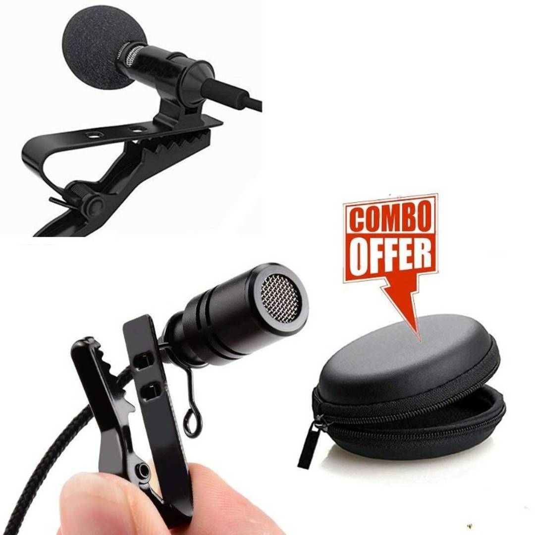Attractive Black Clip Microphone with Collar Mike And Lavalier Microphone Bag- 3 Pieces