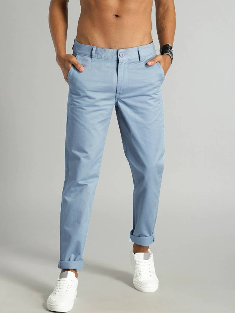 Cotton Blend Sky Blue Solid Casual Pant For Men