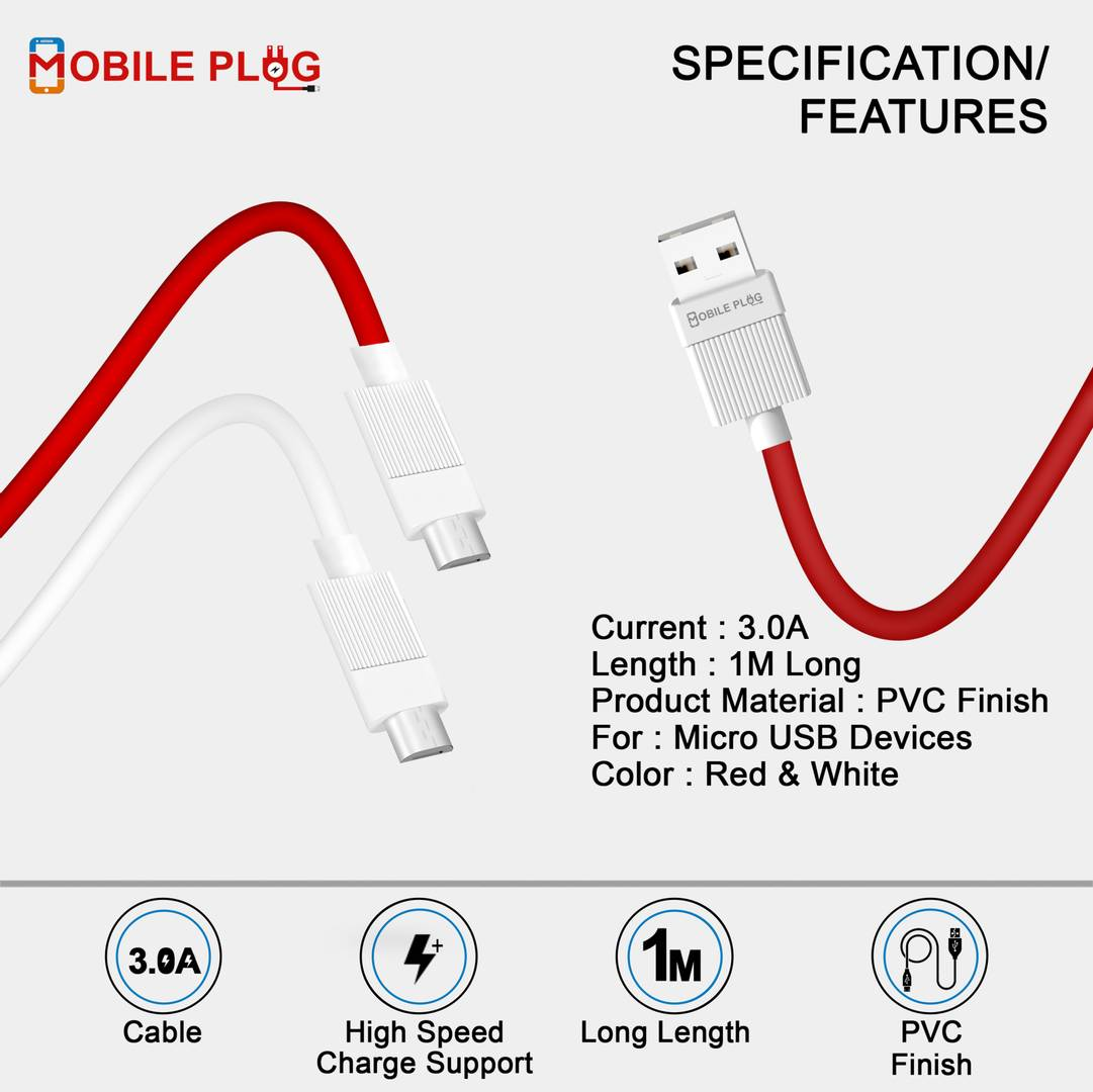 Stylish Red Micro USB Cable