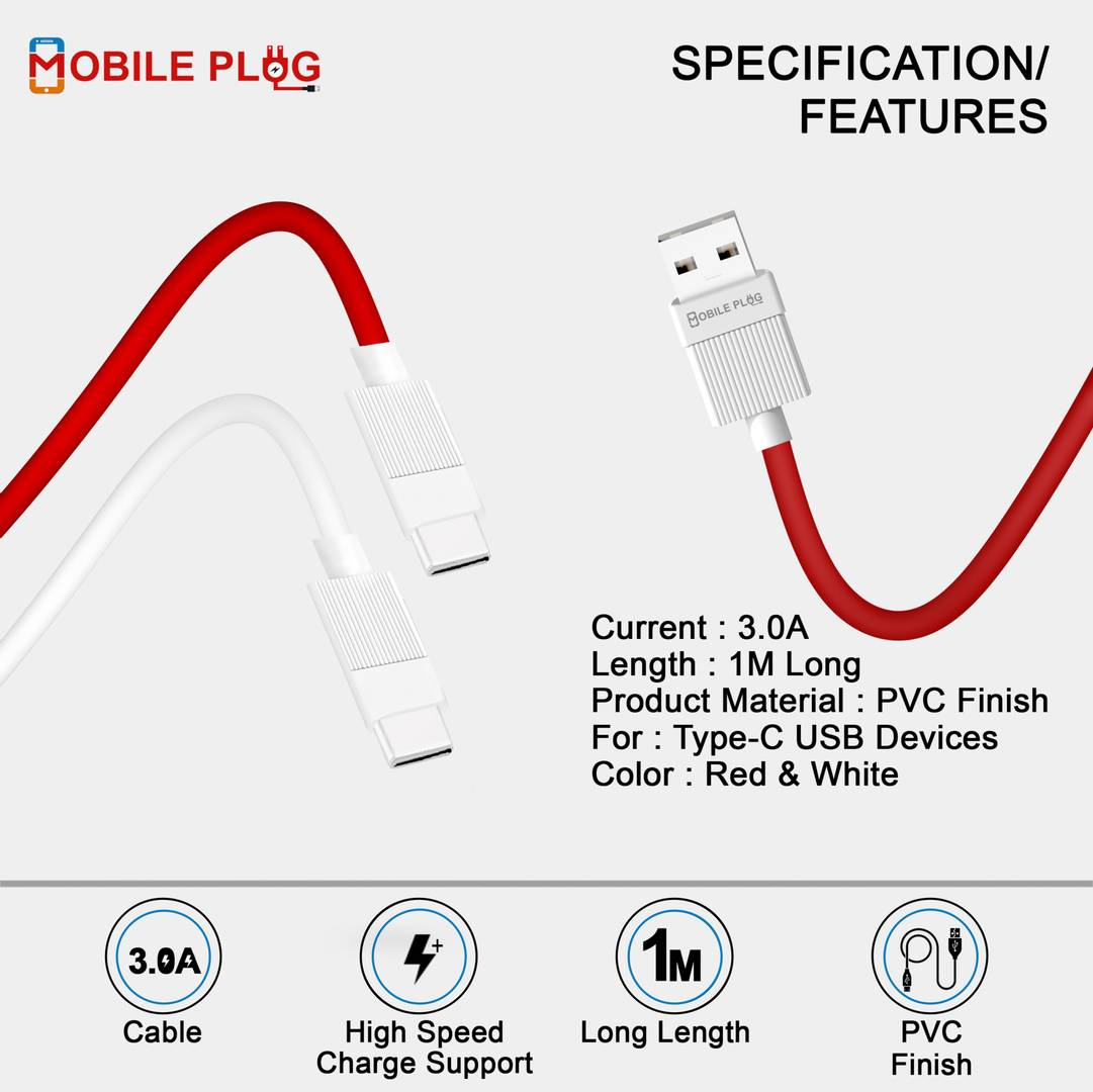Stylish Red Type-C USB Cable