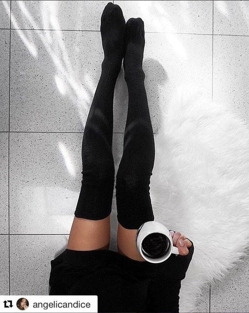Women Cable Knit Extra Long Boot Socking Over Knee Thigh High Girls Warm Stock Autumn And Winter Ladies Fashion Items