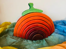 "Load image into Gallery viewer, Pumpkin stacker, pumpkin puzzle stacker, wooden toy, waldorf inspired, montessori inspired, 2.25"" thick and 10"" long"