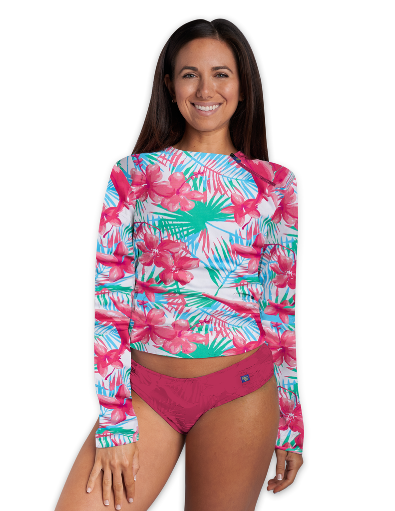 Zipper Top Side Rash Guard UPF 50+ BLW220 - Belena Wear