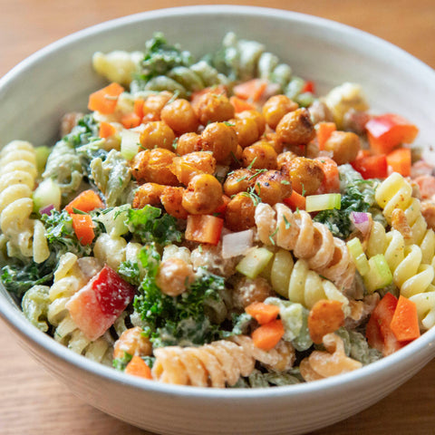 Vegan plant-based pasta salad from New World Kitchen in Des Moines, Iowa