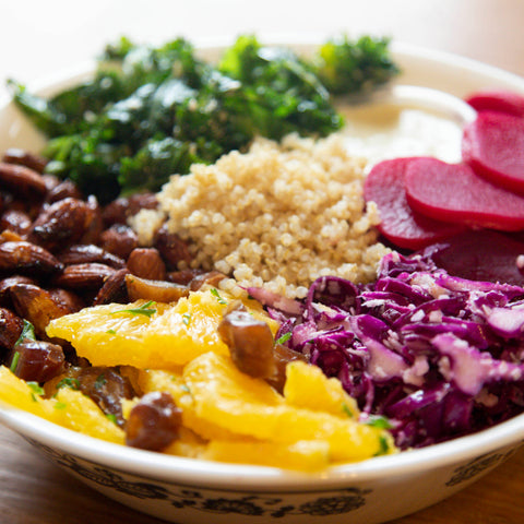 Plant-based Sweet and Spicy Bowl vegan meal from New World Kitchen in Des Moines, Iowa