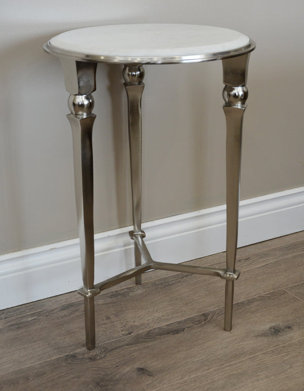 Pavilion Round Nickel & Marble Side Table