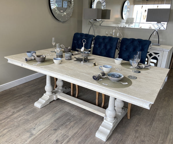 Greywell Twin Pedestal Table in White