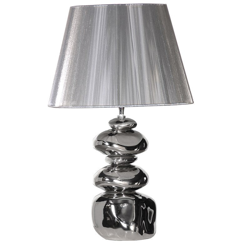 Silver Stack Pebble Lamp