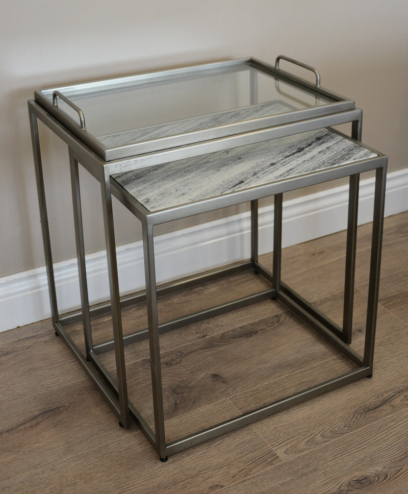 Pavilion Nest of 2 Tables with Glass Tray