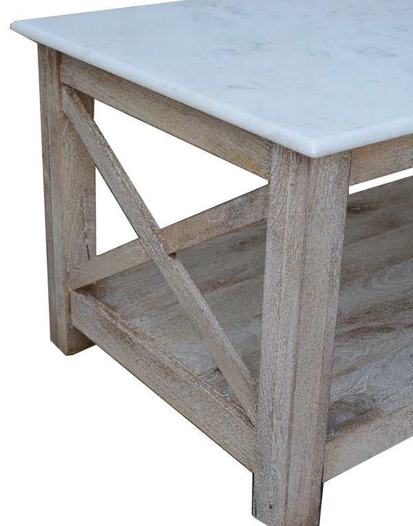 Greywell White Marble and Washed Wood Coffee Table