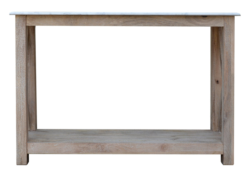Greywell White Marble and Washed Wood Console Table
