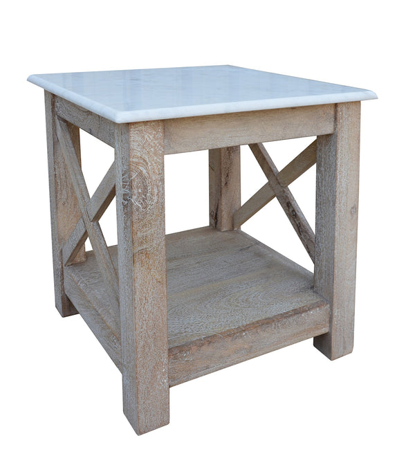 Greywell White Marble and Washed Wood Side Table