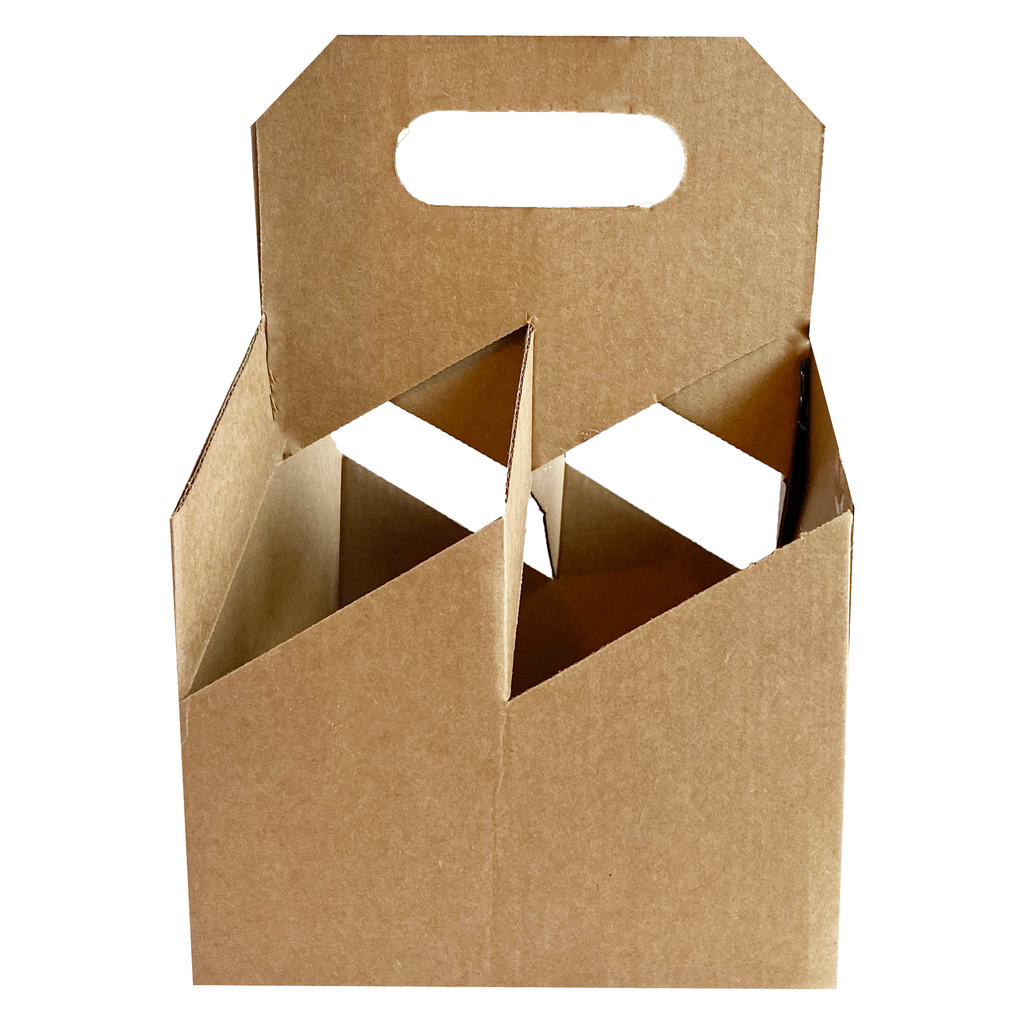 C-Store Packaging | 4 Pack Kraft Wine Carriers