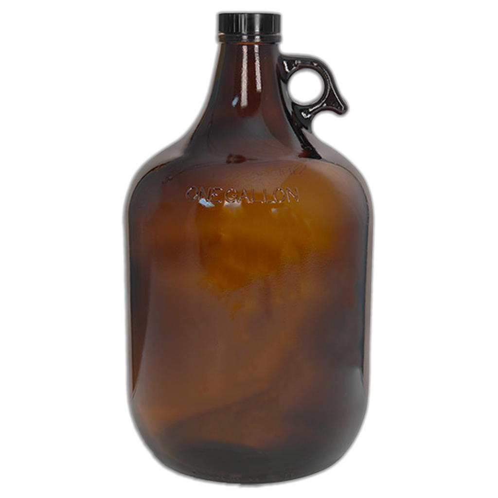 1 Gallon (128 oz) Amber Glass Jug/Growler With 38mm Black Polyseal Lid & Cap