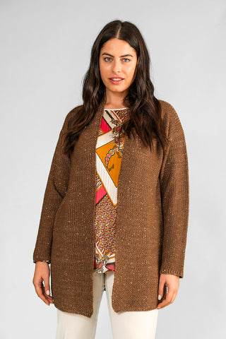 Gaia Life - Cardigan con paillettes senza bottoni color marrone chiaro