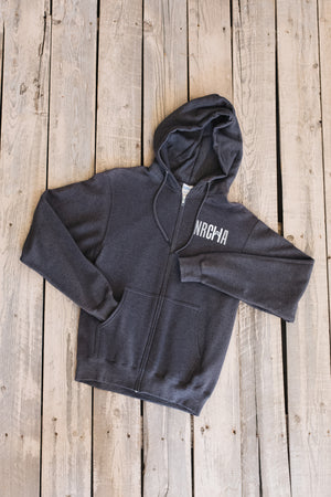 Men's NRCHA Logo Full Zip Grey Hoodie