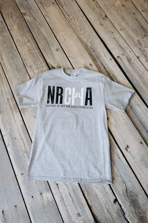 Men's Distressed NRCHA Logo Grey Short Sleeve Tee
