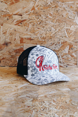 White Paisley Ruby Rose Logo Mesh Hat