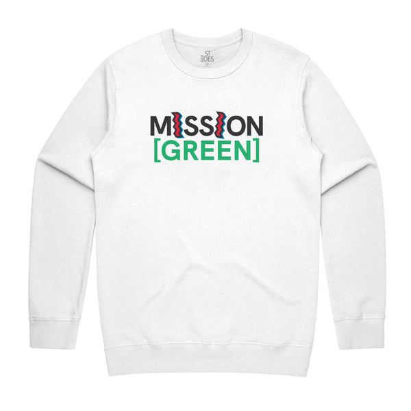 MISSION [GREEN] x ST IDES CREWNECK - WHITE