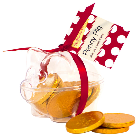 Penny Pig Piggy bank with chocolate coins