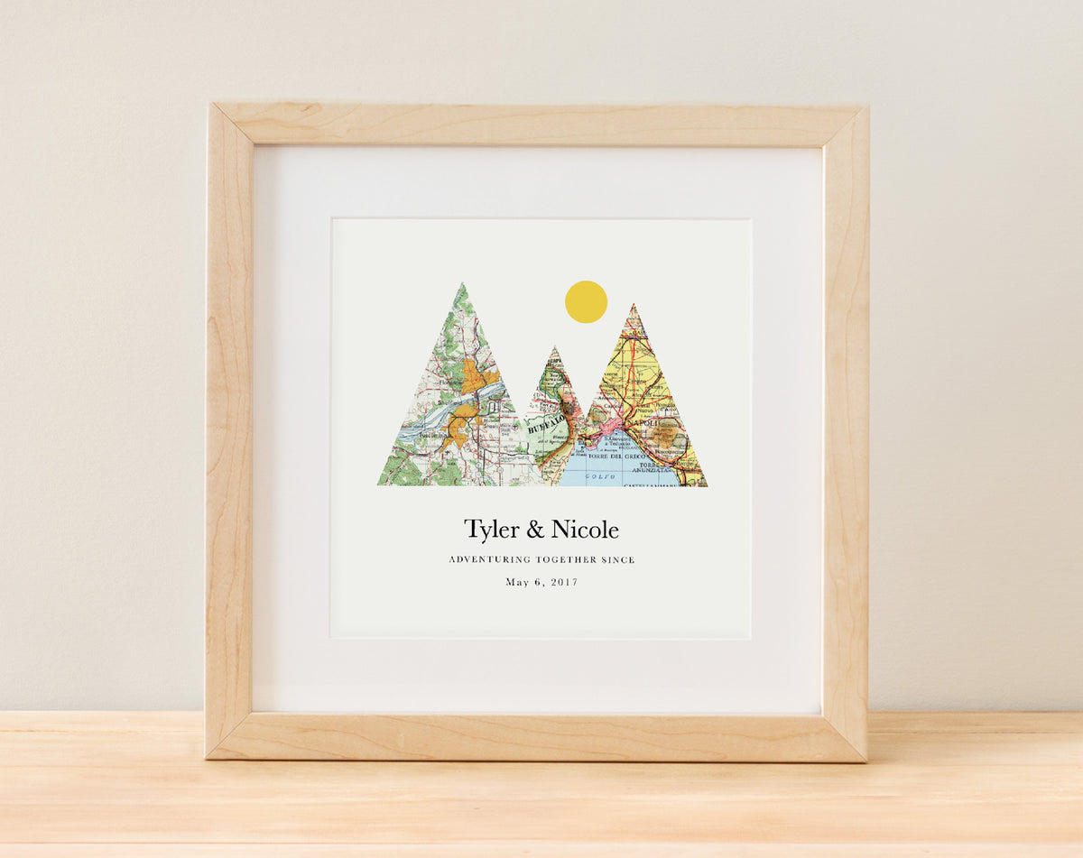 Adventure Together - 3 Maps Serif Style - Adventure Together Personalized Map Print  - A Gier Design - $60 - 3 Maps, adventure together, anniversary, engagement, front page, wedding