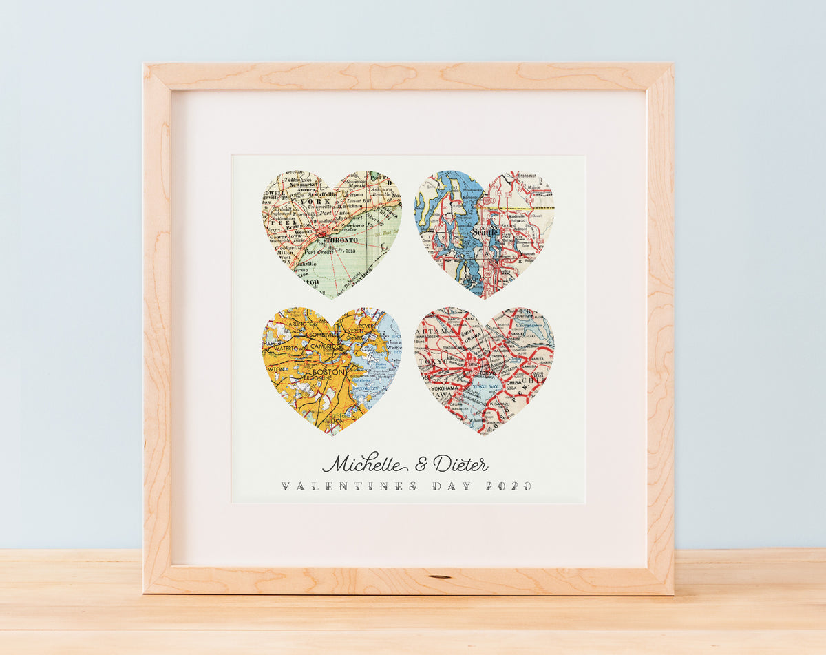 Hearts - 4 Maps Adventure Together Personalized Map Print  $65 4 maps, anniversary, birthday, engagement, hearts, moving, wedding A Gier Design A Gier Design