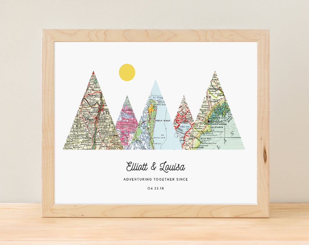 Adventure Together - 5 maps - Adventure Together Personalized Map Print  - A Gier Design - $70 - 5+ maps, adventure together, anniversary, engagement, wedding
